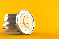 Euro coins. Isolated on orange background. 3d illustration Royalty Free Stock Image