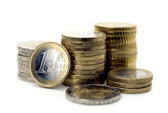 Euro coins isolated on white. Royalty Free Stock Images