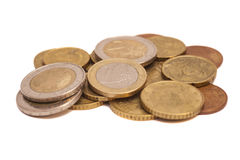 Euro coins. Isolated on white stock photo