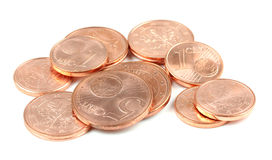 Euro coins, isolated on white background Royalty Free Stock Photo