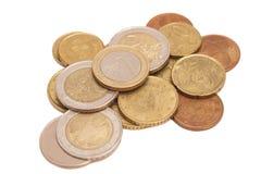 Euro coins isolated. On white background royalty free stock photos