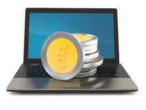 Euro coins on laptop Stock Photography