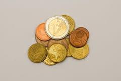 Euro coins. A little pile of euro coins stock photo