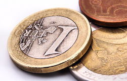 Euro coins macro Royalty Free Stock Photography