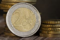 Euro coins macro. With dark background royalty free stock photo