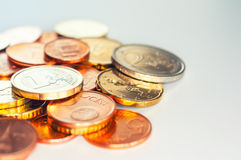 Euro coins macro Stock Photo