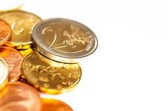 Euro coins macro Stock Image