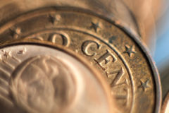 Euro coins macro. Royalty Free Stock Images
