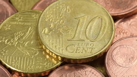 Euro coins macro rotating stock video footage