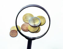 Euro Coins Through A Magnifying Glass Stock Photography