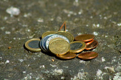 Euro coins. Mixed Euro coins on the ground royalty free stock photos