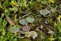 Euro coins. Mixed Euro coins on the ground royalty free stock photography