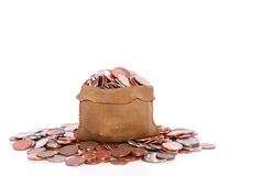 Euro coins in a money bag. Isolated white background stock photos