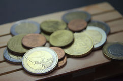Euro coins money on the pallet. Prepared for transport Stock Photography