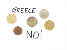 Euro coins and 2015 newsworthy text. Greece is turning its back on the euro in 2015 Royalty Free Stock Image
