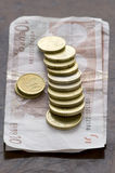 Euro coins and notes Royalty Free Stock Photo