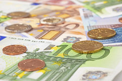 Euro coins and notes as background close up Royalty Free Stock Images