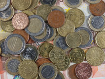 Euro coins and notes Stock Images