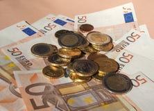 Euro coins and notes Royalty Free Stock Photos