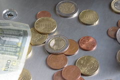 Euro coins and notes Stock Image