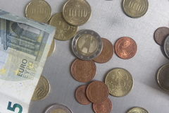 Euro coins and notes Royalty Free Stock Image