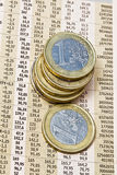 Euro Coins On A Financial Newspaper Royalty Free Stock Image