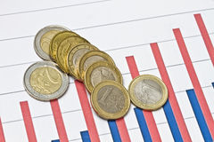 Euro Coins On Business Graph Stock Photography