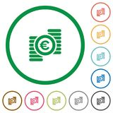 Euro coins outlined flat icons. Set of euro coins color round outlined flat icons on white background Royalty Free Stock Image