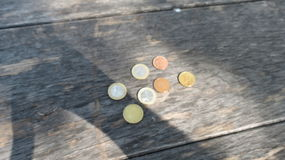 Euro coins over wood background Royalty Free Stock Images