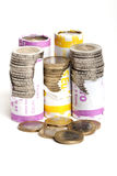 Euro coins in paper role Stock Image