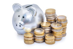 Euro coins piggy bank Royalty Free Stock Image