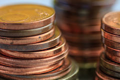 Euro coins in a pile, macro photo, savings concept. Stock Image