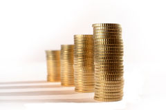 Euro Coins piled in stacks isolated Stock Photography