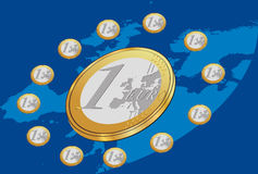 Euro Coins Placed In Circle With Blue Background. Vector illustration of Euro coins placed in circle on Europe map. Eu flag form Royalty Free Stock Photos
