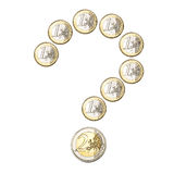 Euro coins question mark Stock Photography