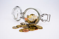 Euro coins - saving money Stock Image