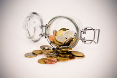 Euro coins - saving money Stock Photography