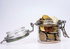 Euro coins - saving money Royalty Free Stock Photography