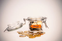 Euro coins - saving money Stock Images