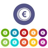 Euro coins set icons Stock Photography