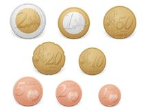 Euro coins. Set on a white background Vector Illustration