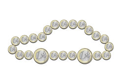 Euro coins in the shape of a car. On a white background Royalty Free Stock Photo