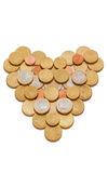 Euro coins in the shape of a heart Stock Photos