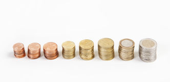 Euro coins from the side Royalty Free Stock Images