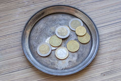 Euro coins on a silver plate Royalty Free Stock Photos