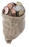 Euro Coins in a small bag Royalty Free Stock Image