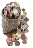 Euro Coins in a small bag Royalty Free Stock Photography