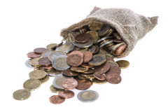 Euro Coins in a small bag Stock Photography