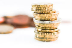 Euro coins. Some Euro coins stack - finance concept royalty free stock images