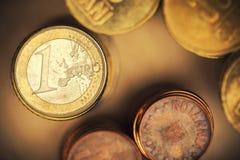 Euro coins. Some stacks of golden euro coins Stock Photography